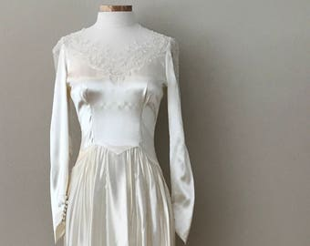 1940's Silk Beaded Wedding Dress