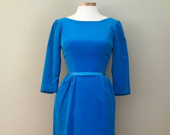 1960's Blue Velvet Gown Maxi Dress