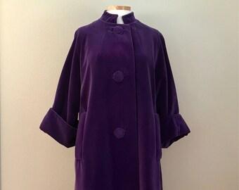 1960's Purple Velvet Swing Coat