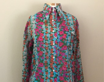1970's Floral Button Up Blouse Shirt