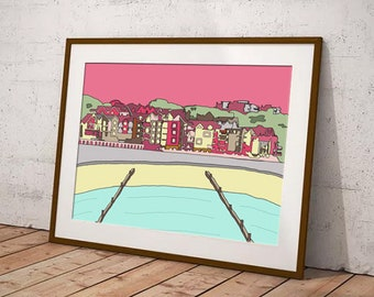 Poster print of Dorset coast, seaside decor in pink, seaside wall art in blue, coastal art print for hallway, gift for beach lover, boscombe