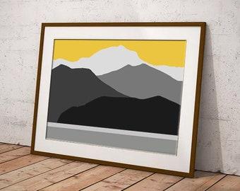 Mountain art, yellow modern art print, yellow and gray wall art, yellow and grey print, print for bedroom, print for kitchen, art for lounge