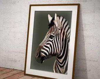 zwart witte zebra kunst print zebra slaapkamer art poster zebra gift voor vriend zebra kunst aan de muur in zwart wit mono kinderen kamer kunst