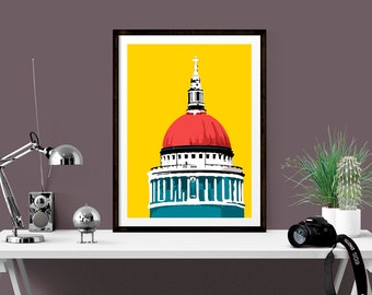 Bright print of St Pauls Cathedral, London skyline wall decor, Architectural print, Cityscape art, Unique housewarming gift, Gift for friend
