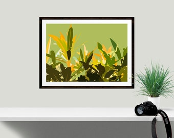 Tropical leaf art print, Abstract leaf wall decor, Unique gift idea for nature lover, botanical print, housewarming present, gift for her