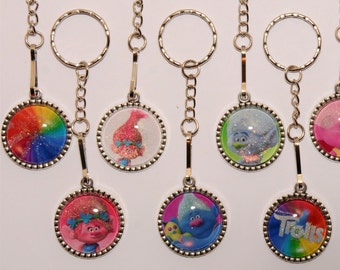 Dreamworks Trolls inspired keychain or necklace party favor/zipper pull