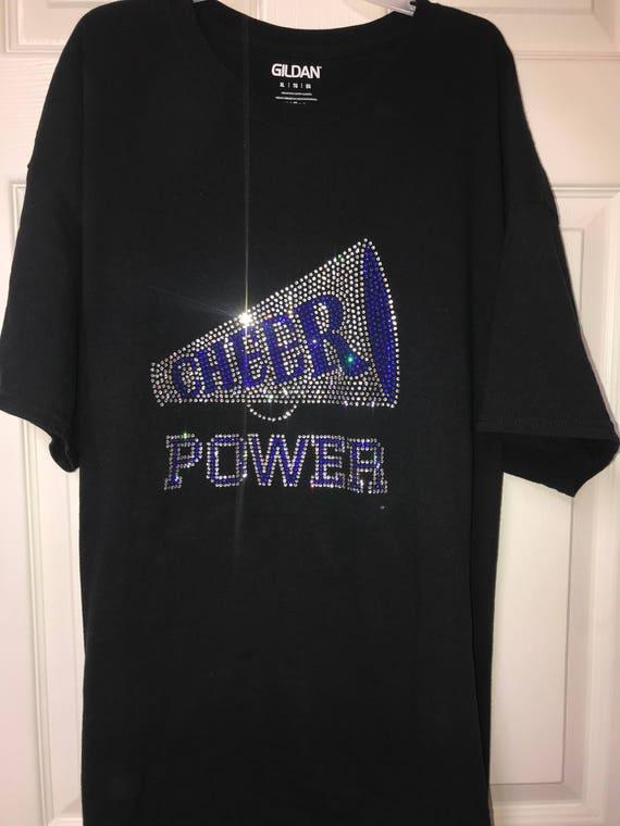 Womens T-Shirt Rhinestone Bling Black Fitted Tee Cheer Star Cheerleading Blue