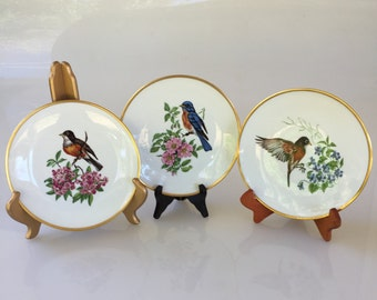 Six Vintage Hand Painted Porcelain Bavarian Schumann Salad Plates With Single Bird Motif-Circa 1960