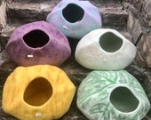 Premium Quality Large Medium-Tie Dye Cat Cave, Eco Friendly, Luxurious Cat Bed, Colorful, Natural Felted Wool,Handmade in Nepal, Cat House