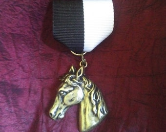 Knight Takes King: Brass Horse / Chess Knight Head in Period Detail - Chess Medal on Black & White Ribbon