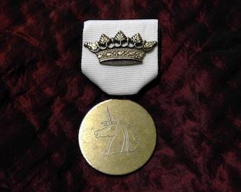 Crowned Unicorn: Brass Crown and Antique Etched Golden Unicorn Medallion Medal - Steampunk, Talisman, Gothic, Renaissance, Fantasy, D&D