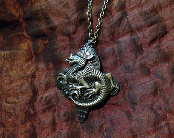 Dragon Fleur de Lis: Ancient-Style Bronze Dragon on Blackened Victorian Art Nouveau Fleur de Lis - Bold Pendant on Brass, Nickel-Free Chain