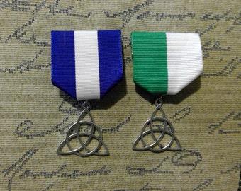 Celtic Triskelion Medal: Unending Celtic Knot Triskell / Trinity on Green + White or Blue + White Ribbon, Irish, Welsh, Scottish Flag Colors