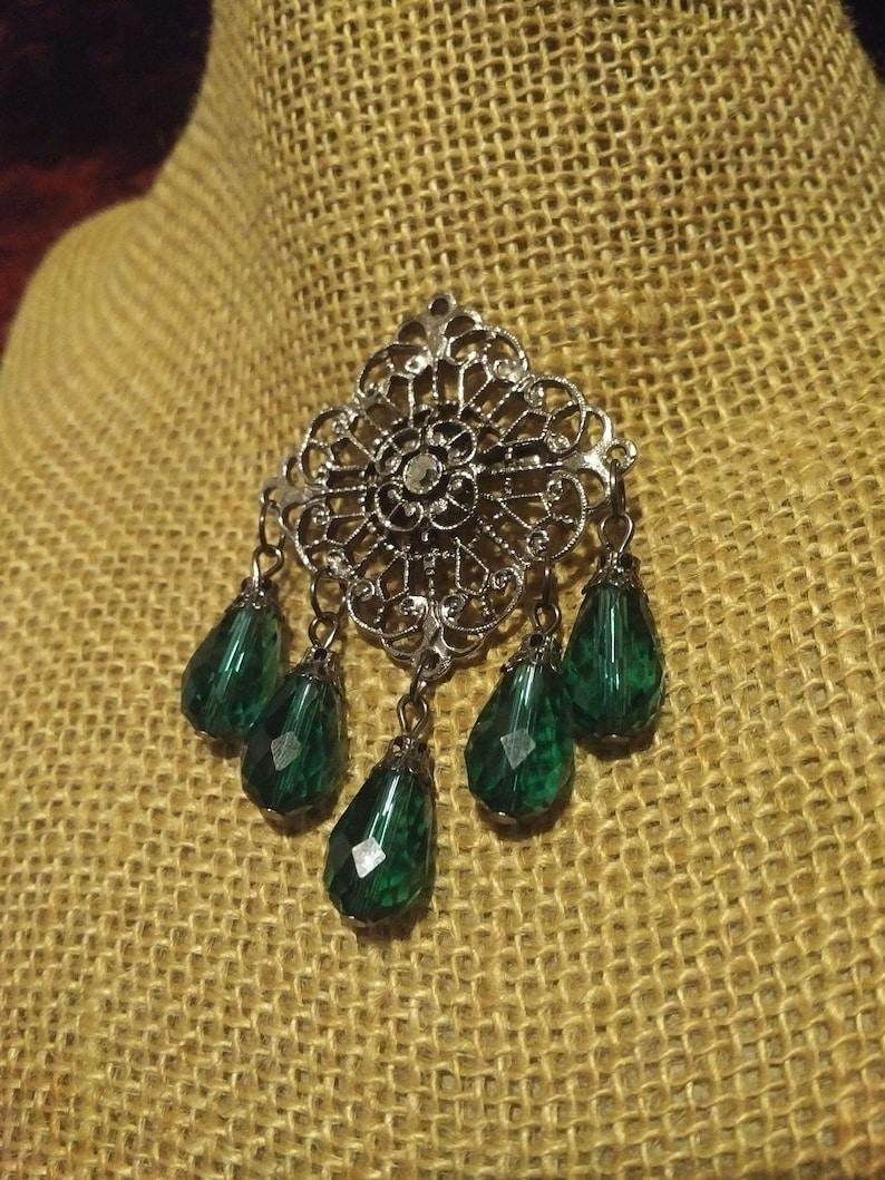 Romantic Neo-Victorian Gunmetal Filigree Brooch with Faceted Voluminous Green Teardrop Beading Gunmetal Green Gothic