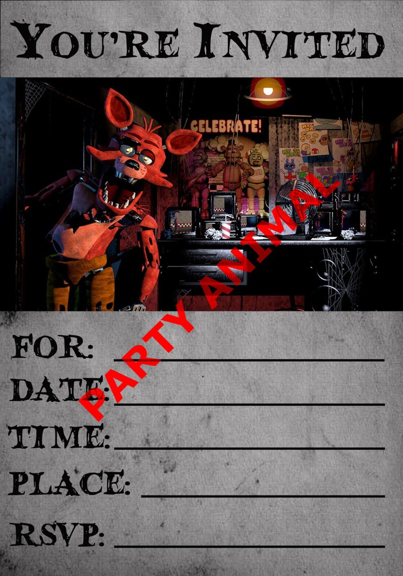 Five Nights At Freddys Foxy Party Invitation Instant