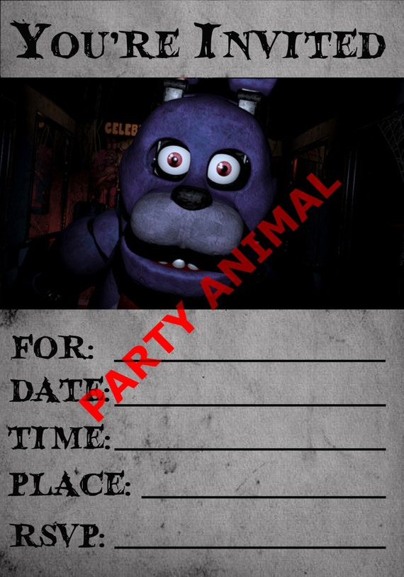 Five Nights At Freddys Bonnie Party Invitation Instant