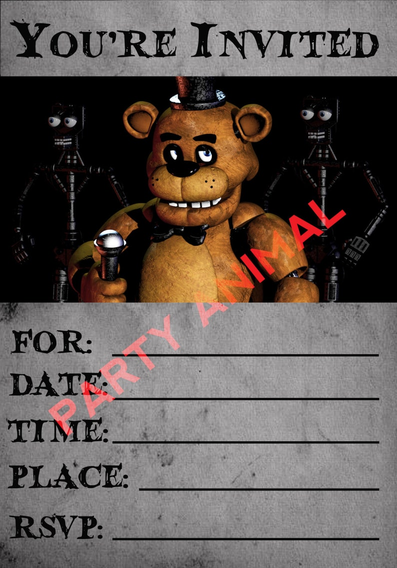 Five Nights At Freddys Party Invitation Instant Download