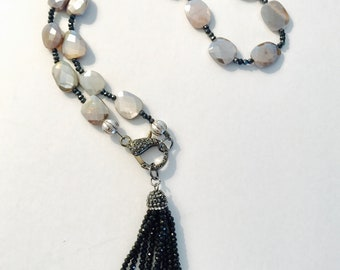 24 Inch Mystic Moonstone and Spinel Necklace with 2 Inch Detachable Pendant and Pave Clasp