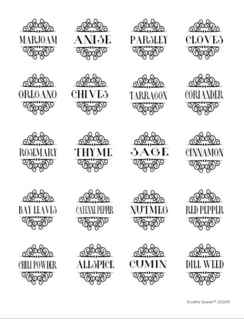 graphic about Printable Spice Labels identify Printable Spice Labels