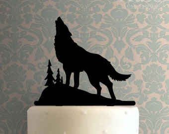 2D Wolf Cake Topper  Moon Night Rock Birthday Jungle Outback Woodland Howling