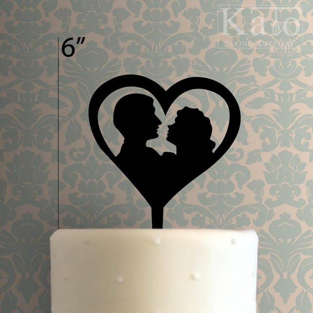 Couple Heart 100 Cake Topper