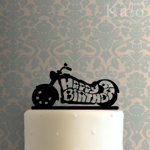 Happy Birthday Motorcycle 100 Cake Topper