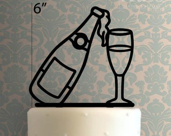Champagne Bottle And Glass 100 Cake Topper
