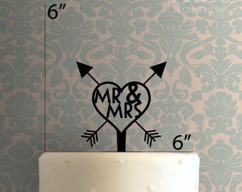 Mr and Mrs Arrow Heart 100 Cake Topper
