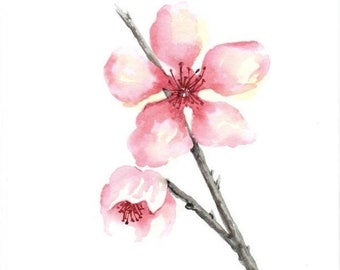 Original watercolor painting, wall art, room decor, gift, pink, cherry blossom