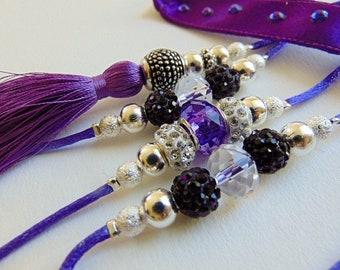 Beaded Dog Show Lead, Dog Leash, purple and silver rhinestone, violet dog leash, lilac rhinestone lead, 4 Feet Long, READY to SHIP