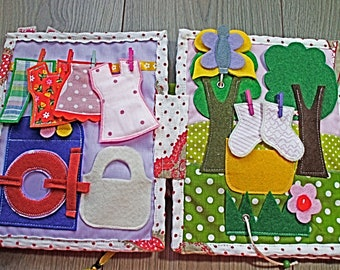Quiet book for baby girl,toddler birthday gift, 10  pages with funny activity games.