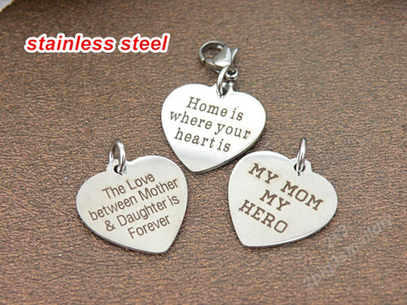 61cd64df5f827 Stainless steel engraved heart disc charm pendant with jump ring and  lobster clasp,word charms,Clip on charms for bracelet or necklace T368