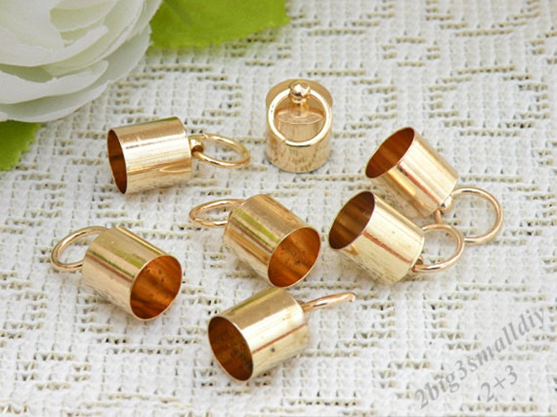10 Pcs 10mm Gold End Caps with Loop,Leather End Caps,Gold Plated over Brass,Tassel End Caps