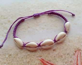 Nautical Real Cowrie Sea Shell Adjustable Nylon Wax Purple Cord Seashell Friendship Beach Bracelet Jewellery
