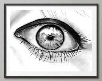 Eye wall art print / Eye print / Girl eye / pencil / Digital / Art / Print / Graphic Art Printable / INSTANT DOWNLOAD
