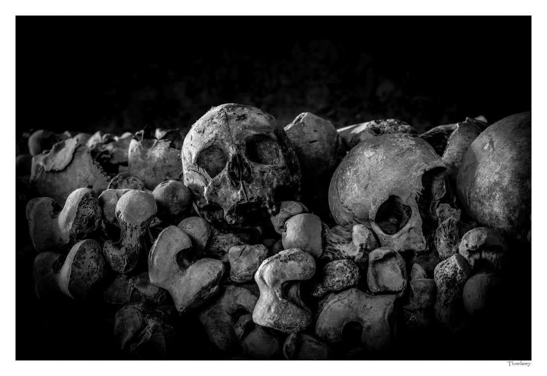 Gothic art wall art fine art photography human skull photographic print skulls and bones ossuary dark eerie photography