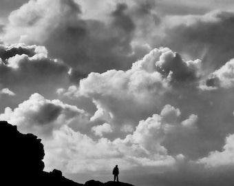 Dramatic fine art black and white photographic print. Wall Art. Fine art photography. Silhouette.Cloud art. Cloudscape. Cornwall