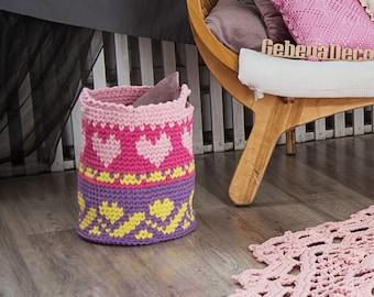 Crochet large color HEART Basket - nursery color basket - toy large basket storage  box