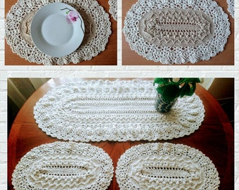 Extra large Oval Crochet doily - beauty handmade gift home decor table mat couche pañal Windel