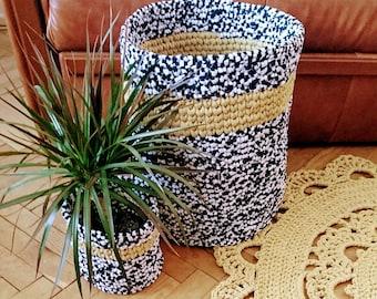 Crochet MELANGE color Basket - nursery color basket - toy large basket storage  box - home decoration