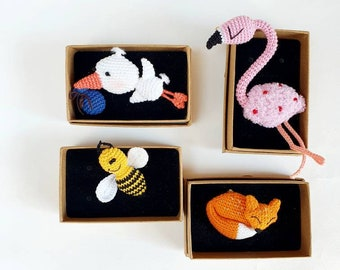Bee, flamingo, stork, fox brooch pins - crochet insect handmade pins for mom to be, kids, and adults. Tiny Party favors