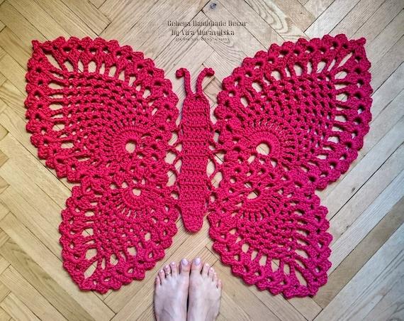 Viele Farben Schmetterling Häkeln Flickenteppich 39 In Etsy