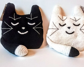 Black white Cat small interior pillow crochet pillow cat - nice toy 9.8 in/25 cm
