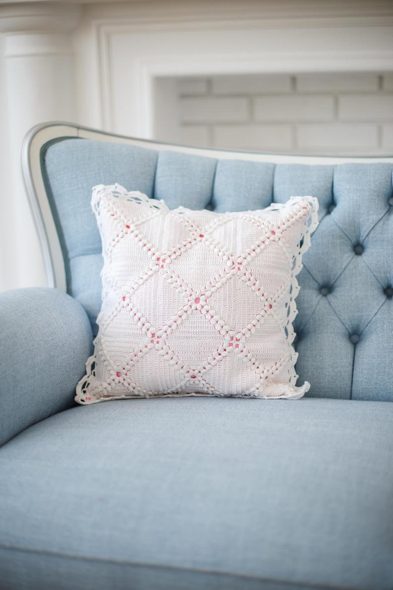 Crochet pillow & cover lace cushion pillowcase. Modern Granny image 0