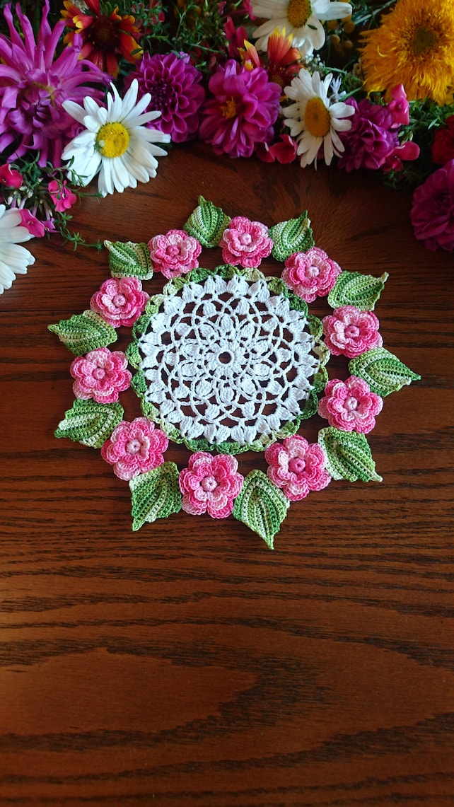 Rose Lace Doily A Great Wedding Centerpiece Coffee And Etsy