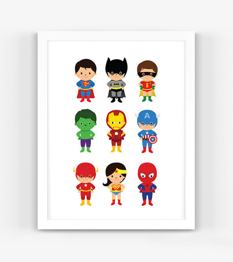 Little Super Heroes – Instant Download, Scalable Printable, Nursery Decor,  Wall Art