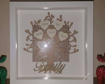 Personalised family tree, family tree frame, box frame, gifts for the home, family tree box frame