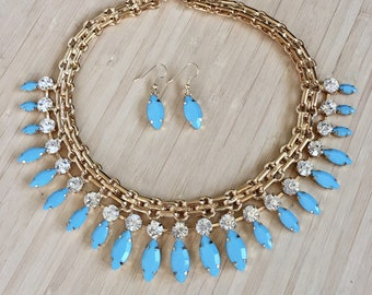 Turquoise and Gold Statement Bib Necklace. Bohemian Necklace. Bohemian Jewelry. Boho Chic Necklace. Free Earrings.