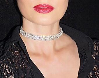 Lily Choker. 3 Rows of Very Sparkly Genuine Austrian Swarovski Crystals. Sexy Trendy Choker. Bridal Choker.