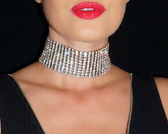Molly Choker. 2 COLORS. 10 Rows of High Quality Sparkly Glass Crystals and 22K Gold or Silver Plating. Gold Choker. Trendy Sexy Choker.